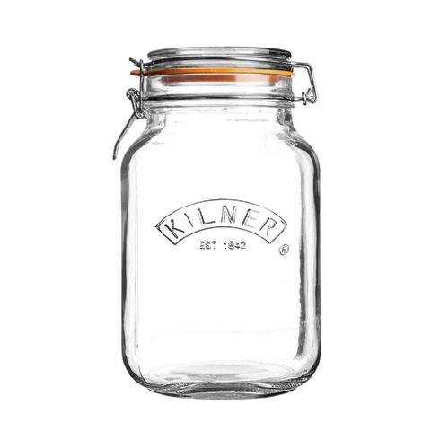 Kilner Large 2L Square Glass Clip Top Jar